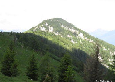 20 greben Olševe, pogled na prehojeno pot, 10.04