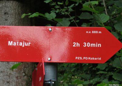 61 na začetku vzpona na Matajur, 9.00