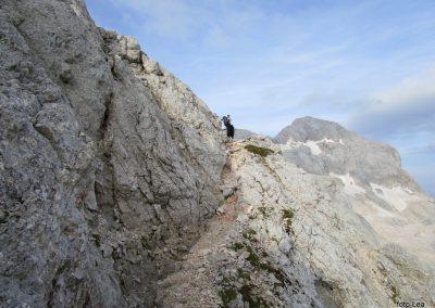 187 nekoliko izpostavljen del poti na greben med Kredarico in Ržjo, 8.07